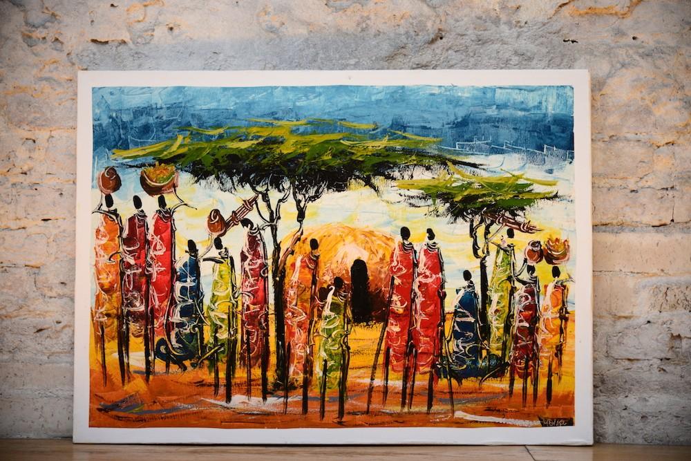 К  артина маслом «Жители племени Масаи»